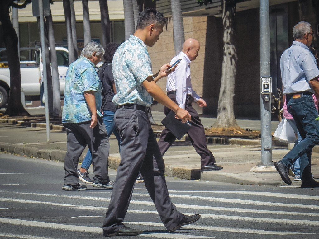 Distracted Crosswalkers Honolulu