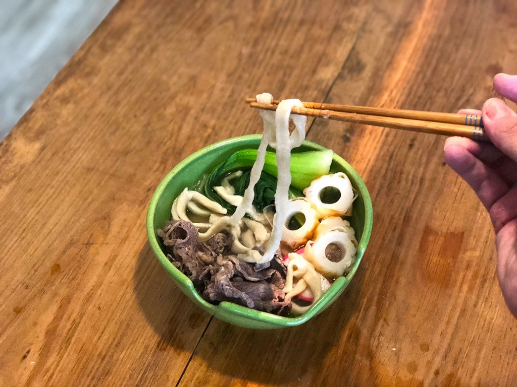 Home Cooking Udon Noodles Final Product Chopsticks