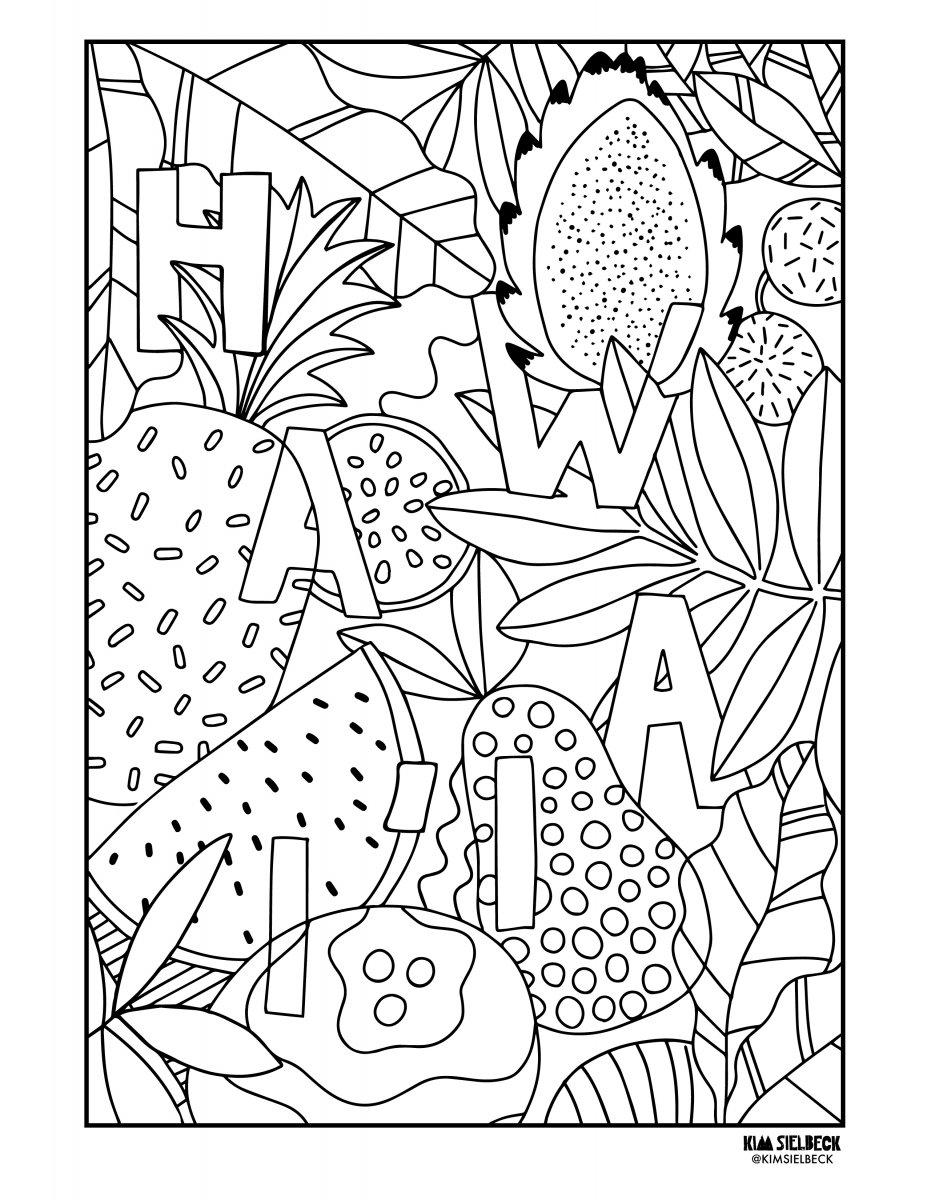 Free Adult Coloring Pages From Hawai I Artists And Our Magazine That You Can Print And Enjoy At Home