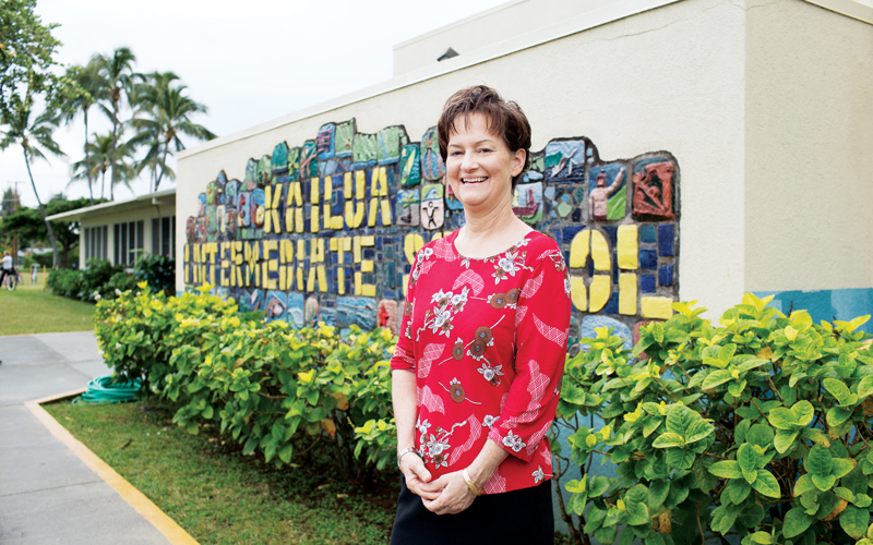 KAILUA INTERMEDIATE PRINCIPAL LISA DELONG IS HOPING FOR MORE TEACHER/STUDENT ENGAGEMENT.