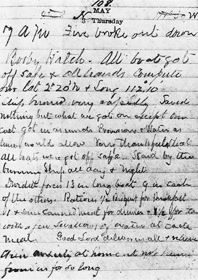 """7 A.M.: FIRE BROKE OUT DOWN BOOBY HATCH ..."" SAMUEL FEGUSON'S JOURNAL ENTRY FOR MAY 3, THE DAY THE HORNET SANK."