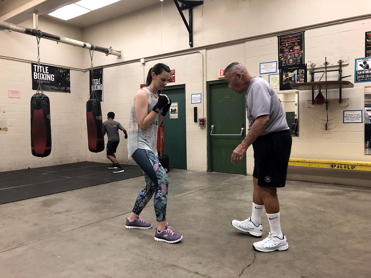 Boxing class footwork