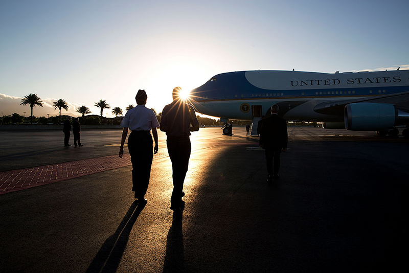 Barack Obama boarding Air Force One.