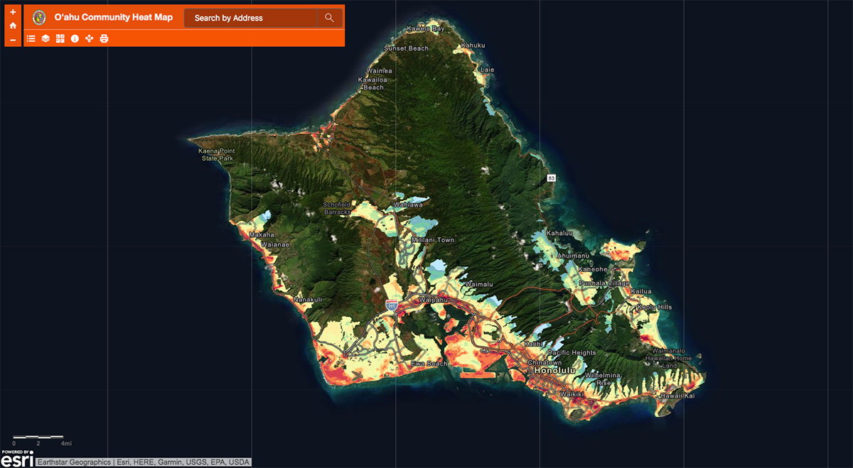 Interactive heat map of Oahu