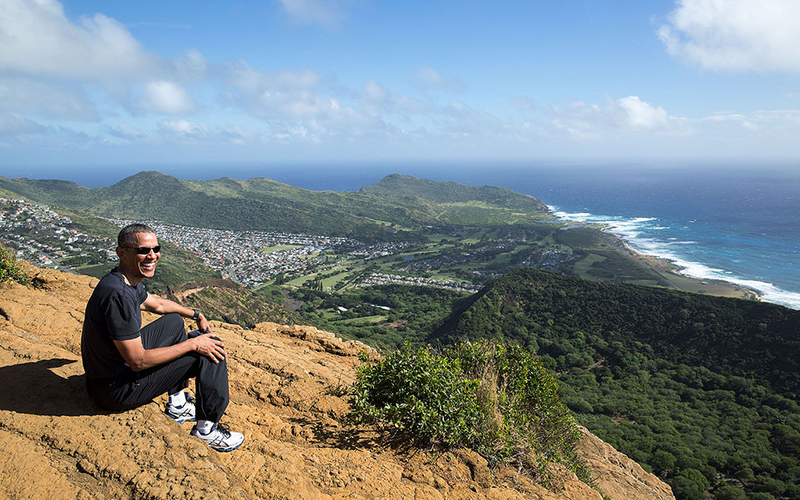 President Barack Obama on Koko Crater.