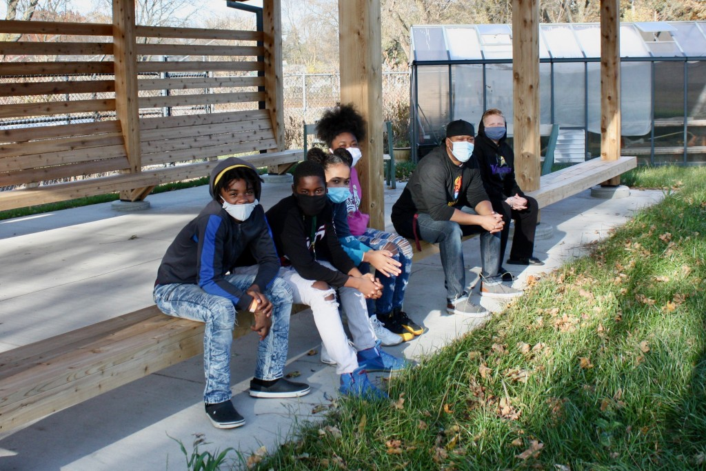 04 A Group Of 8th Grade Students From The Goodman Community Center Hang Out In The New Outdoor Classroom With Their Teacher, Arthur Morgan.