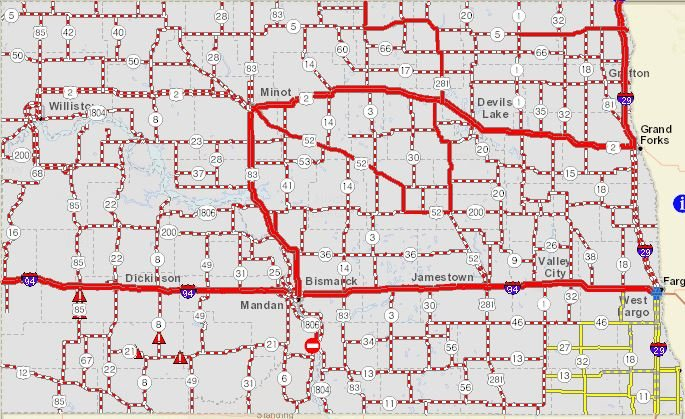 UPDATE Blizzard Shuts Down Many ND Highways No Travel Advised in – Mn Travel Map