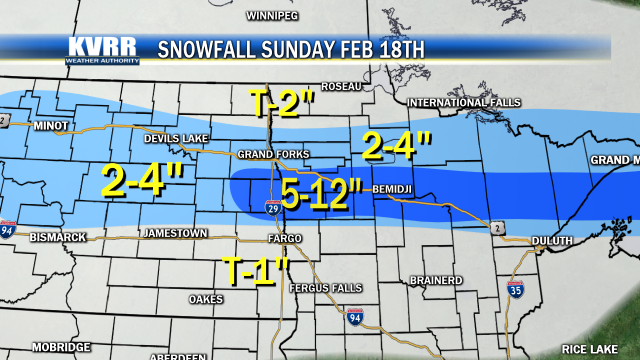 Snow Totals From Feb 18th - KVRR Local News