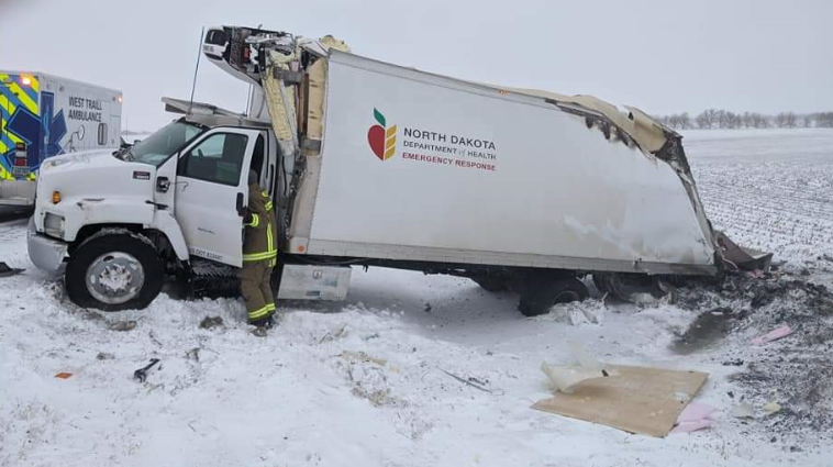 Medical Truck In Ditch