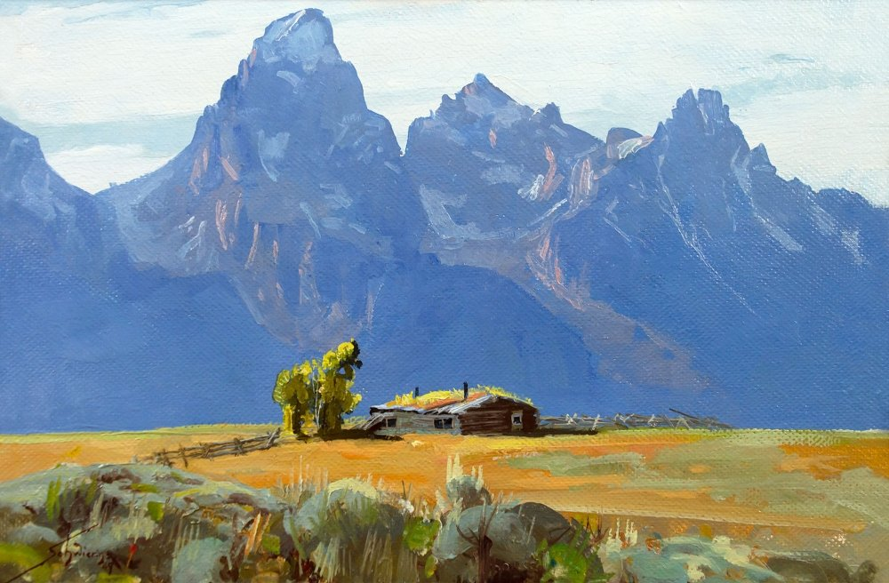 Schwiering Conrad 1916 1986 Teton Home Oil On Board 12 X 18