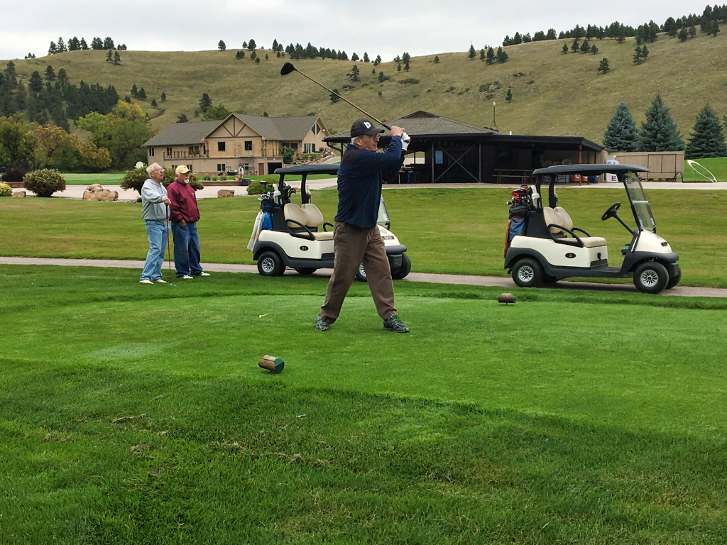 Image of a golfer teeing off on the 10th hole at Hart Ranch Golf Course Friday morning. He was participating in the 5th annual Black Hills Lutheran School Charity Golf Tournament. Photo Date: Sep. 21, 2018.