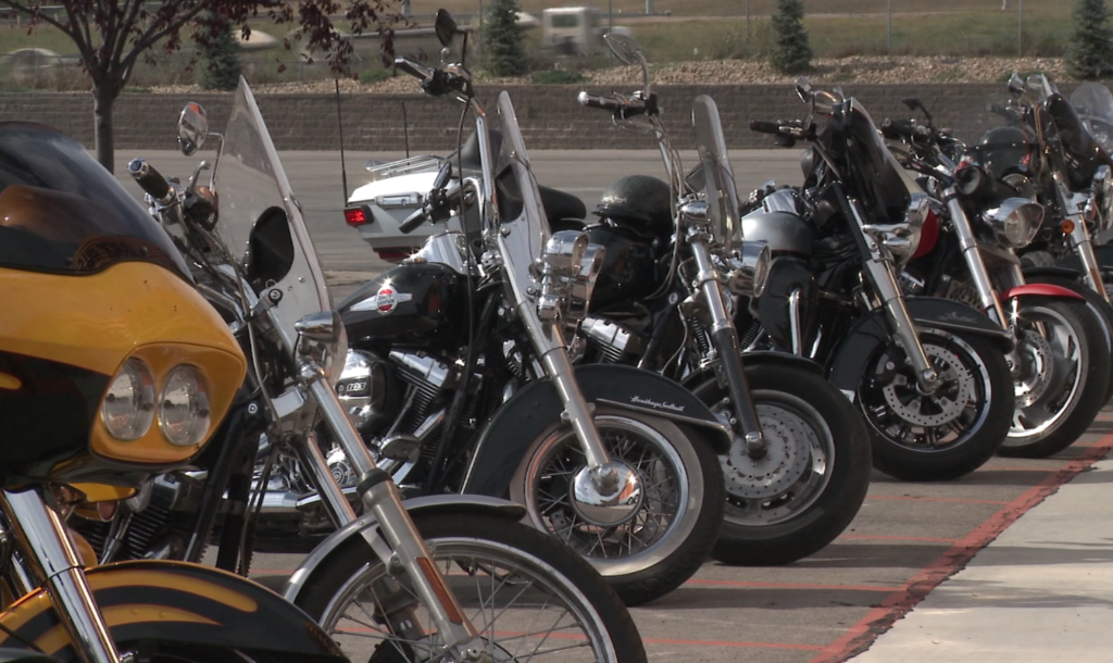 Bikes parked outside of Harley Davidson of the Black Hills for the final leg of the poker run which benefits the Pennington County Toys for Tots.