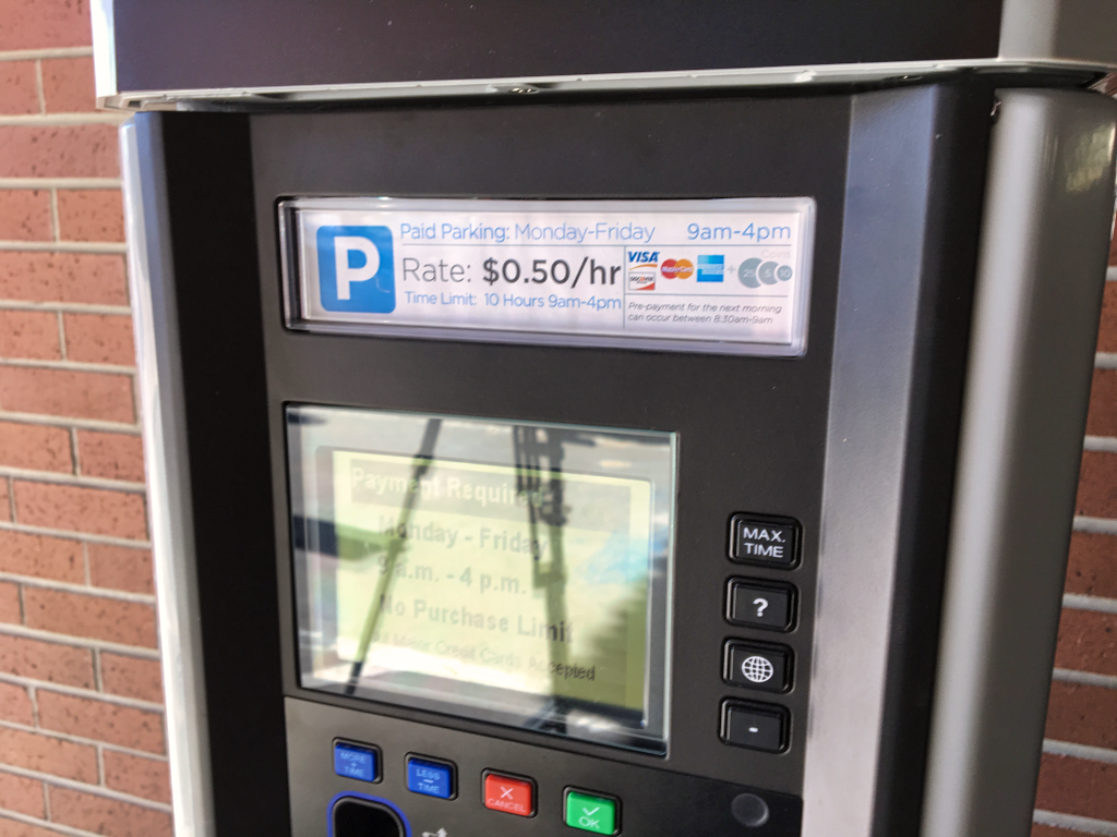 One of the new parking payment machines installed on the lower level of the downtown parking garage in Rapid City. A 60-day planned pilot program testing various payment technologies has been extended so the city can take a look at some new offerings from the vendors competing for the contract. Photo Date: Oct. 18, 2018.