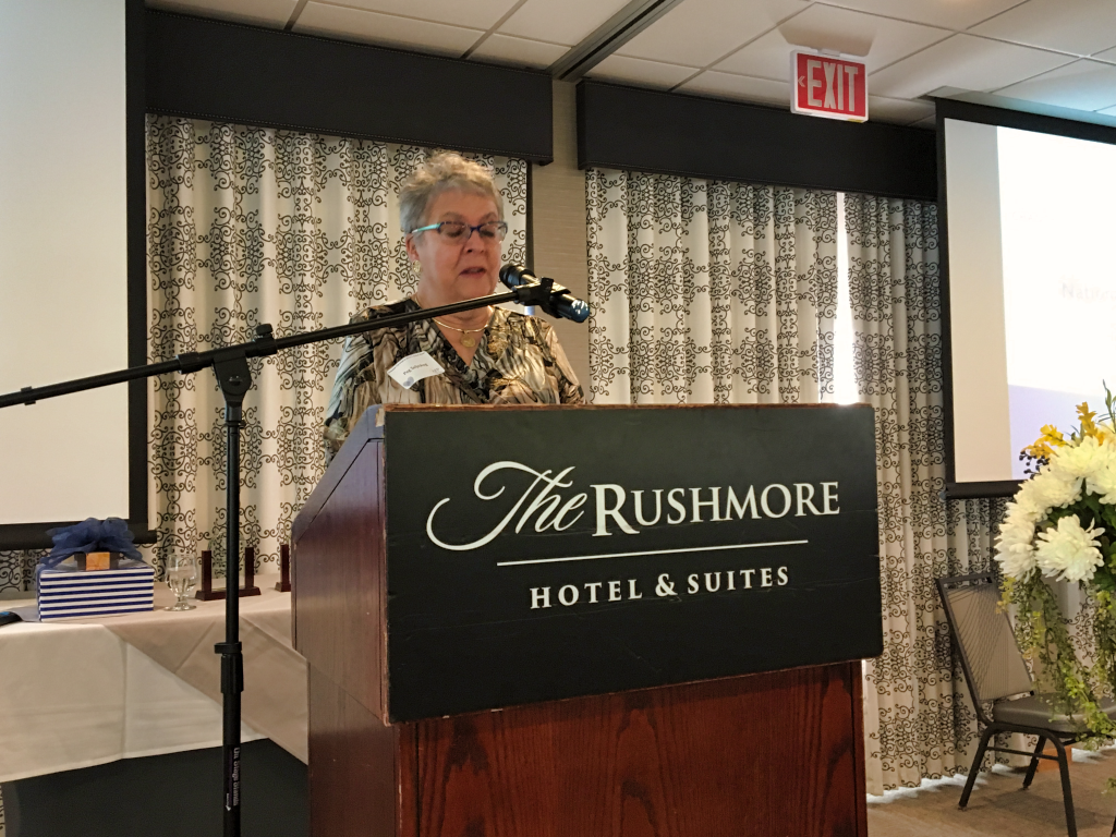 2011 Outstanding Philanthropist Peg Seljeskog address the annual National Philanthropy Day Governor's Awards Luncheon at the Rushmore Hotel in Rapid City. The event recognized outstanding philanthropists and philanthropic organizations from across South Dakota. Photo Date: Oct. 24, 2018.