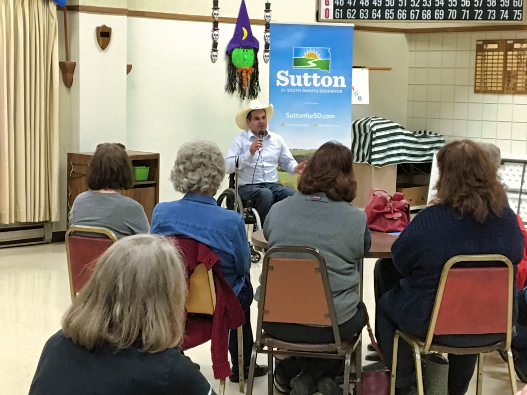 Democratic candidate for governor Billie Sutton made a swing through West River, South Dakota on Oct. 26, 2018 to talk to potential voters in the run-up to the Nov. 6 election.