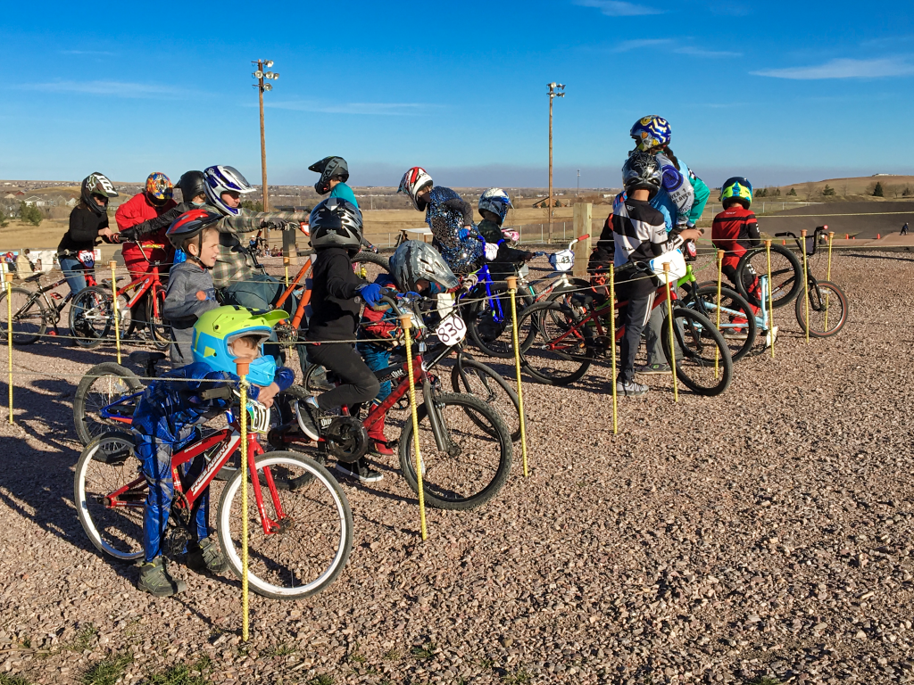 BMX racers wait to approach the starting line at Robbinsdale Park during the first annual Spooktacular Races Sunday. Photo Date: Oct. 28, 2018.
