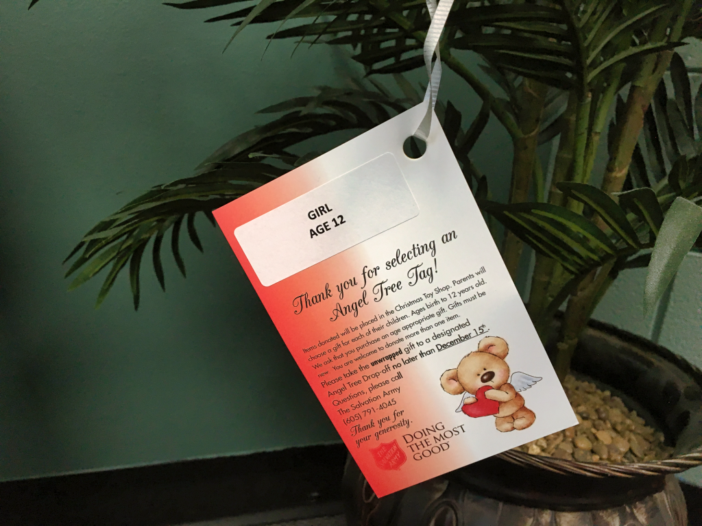 A tag for the Salvation Army's Angel Tree gift drive hangs from a tree. The Salvation Army is looking for businesses and other organizations to participate in the program. Photo Date: Oct. 9, 2018.
