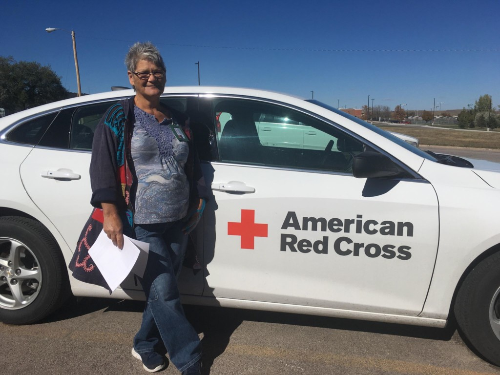Hill City resident Becky Eisenbraun prepares to depart with the Red Cross to help with the relief effort for Hurricane Michael on Oct. 12, 2018.