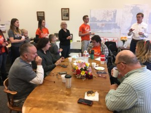 US Congressional Candidate Dusty Johnson meets with his volunteers during a final campaign push in Rapid City