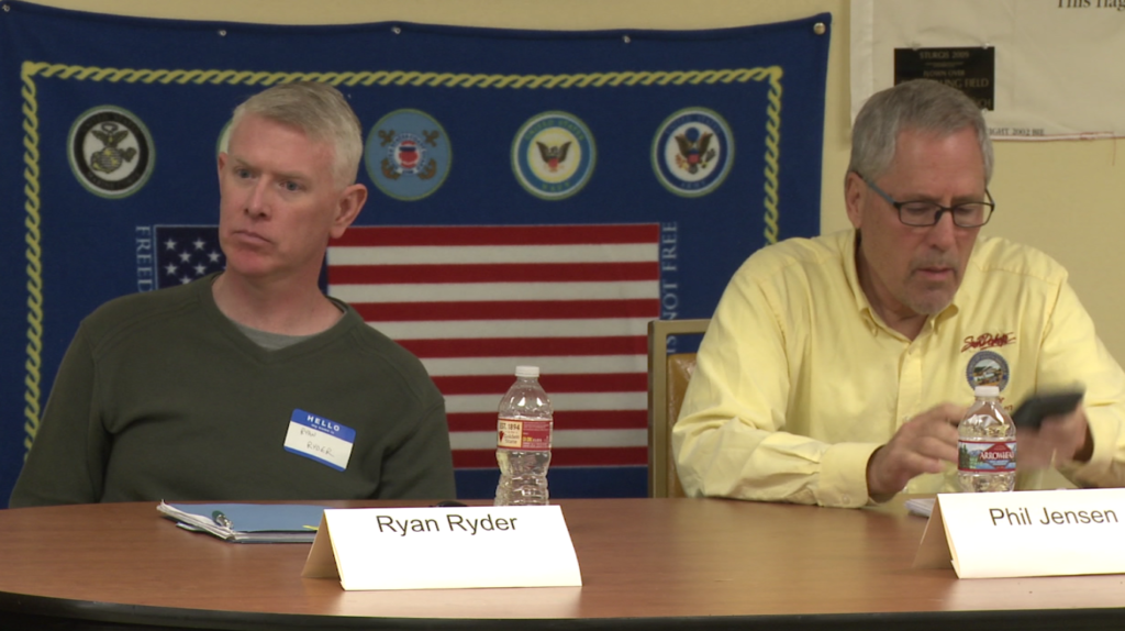 Ryan Ryder and Phil Jensen attend a candidate forum in Piedmont on Oct. 22, 2018