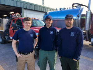 """Firefighters Brayden Ashworth, Thomas Hageman, and Heath Brown, all of the Spearfish Fire Department, went to California for nine days to help fight the """"Camp Fire"""" wildfire north of Sacramento. Photo Date: Nov. 28, 2018."""
