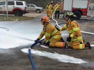Johnson Siding firefighters get familiarized with the CAFS foam firefighting system on their new Darley MaxWASP fire engine. Johnson Siding Volunteer Fire Department took delivery of the new apparatus on Saturday. Photo Date: Nov. 3, 2018.