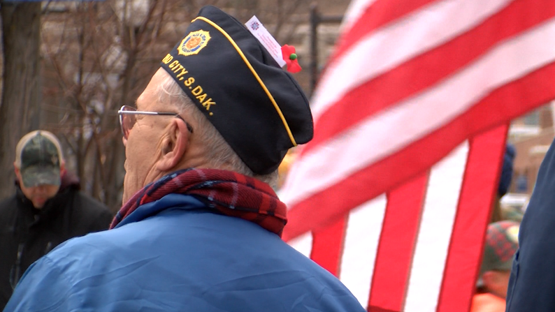 A Rapid City veteran watches a parade in downtown Rapid City on Veterans Day, 2018.