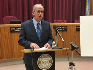 Mayor Steve Allender presents the 2018 Rapid City Progress Report at a press conference Thursday afternoon. Photo Date: Jan. 31, 2019.