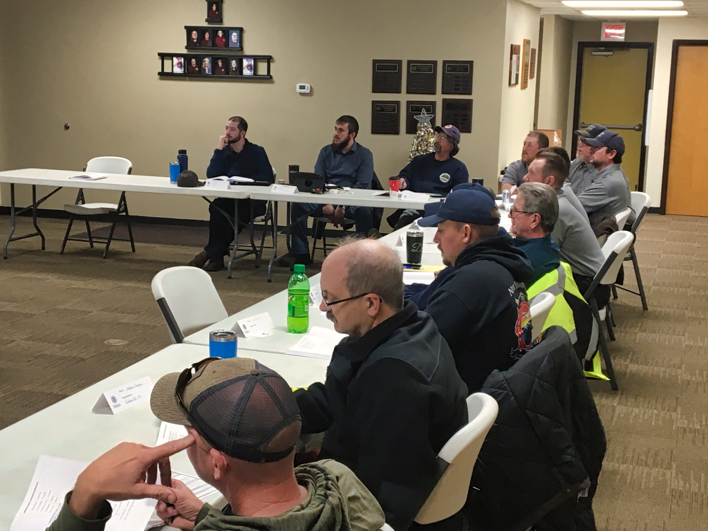 Training officers from several West River fire departments attended a course put on by the National Fire Academy. The course taught them how to better train their fellow firefighters. Photo Date: Jan. 6, 2019.