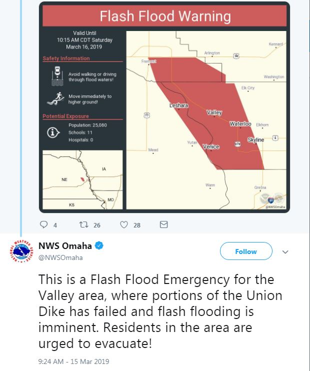 Flash flood emergency forces evacuations in areas west of Omaha, Nebraska