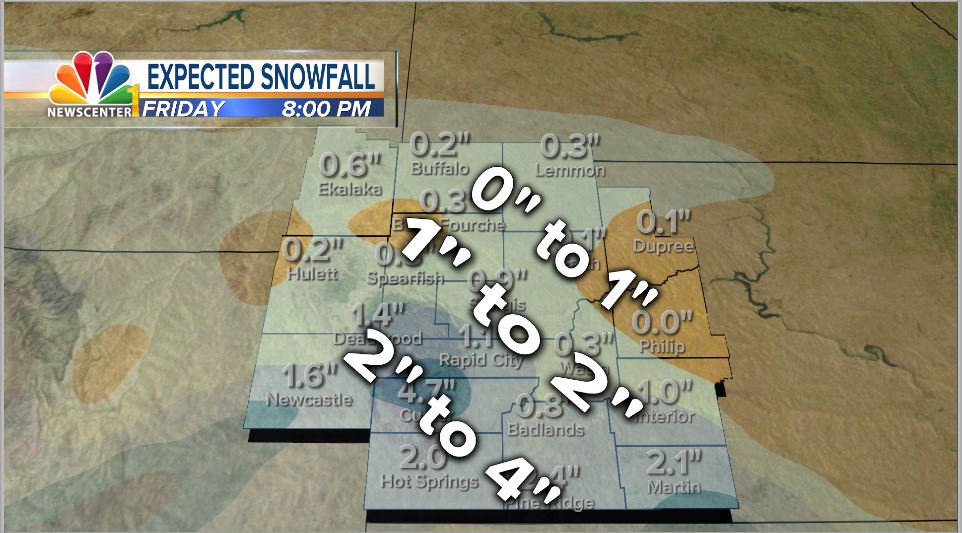Black Hills area expected to get 1 to 4 in of snow