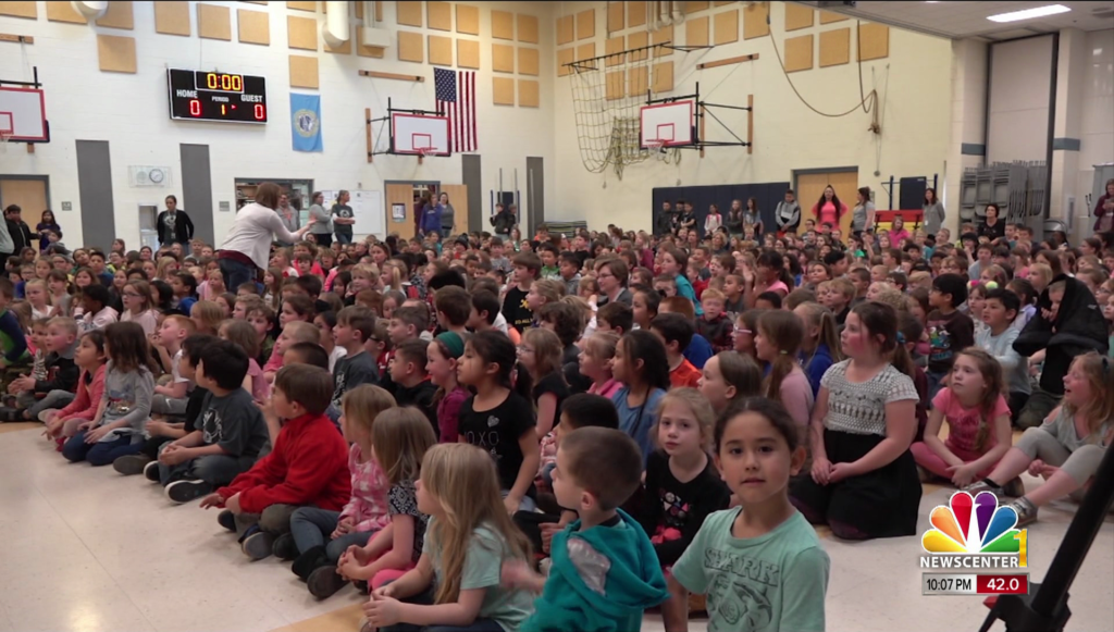 Students at Valley View gathered for their fundraiser for leukemia research