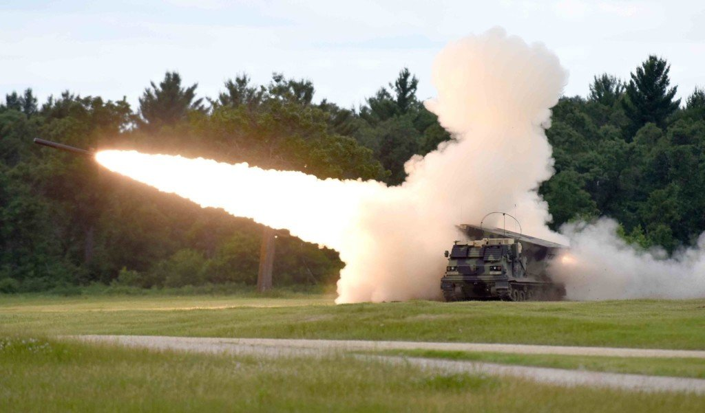 National Guard vehicle shoots missile