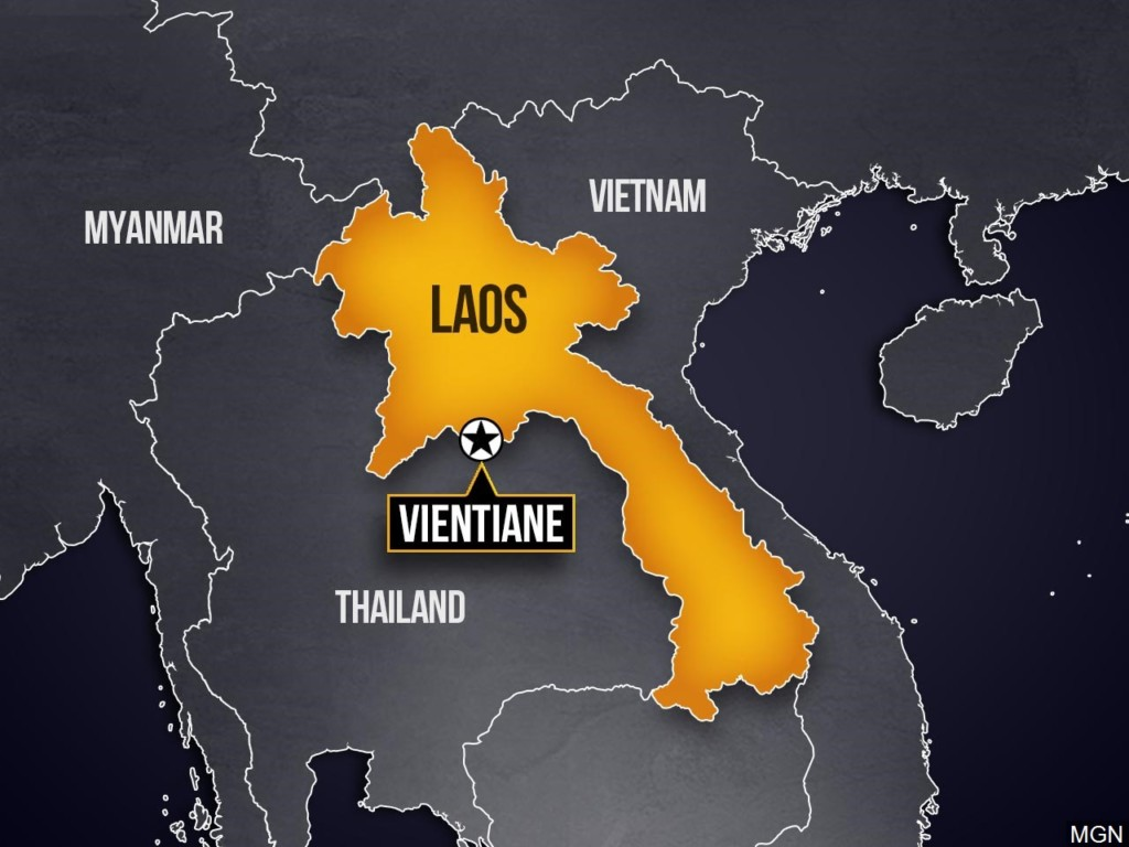 Highlighted map of Laos in SE Asia