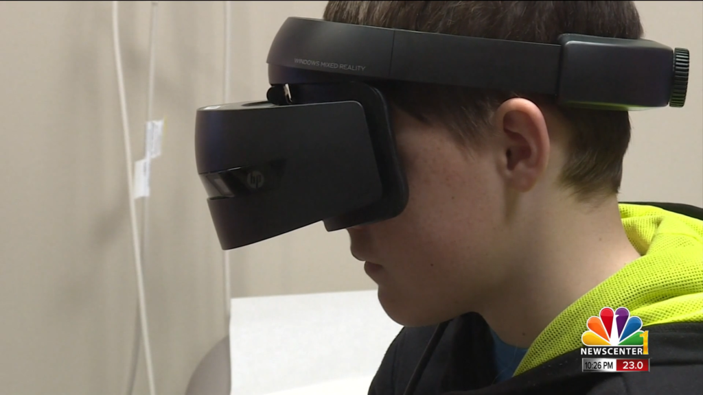 13-year-old Darin Neben using a virtual reality program to prepare for his cancer treatment
