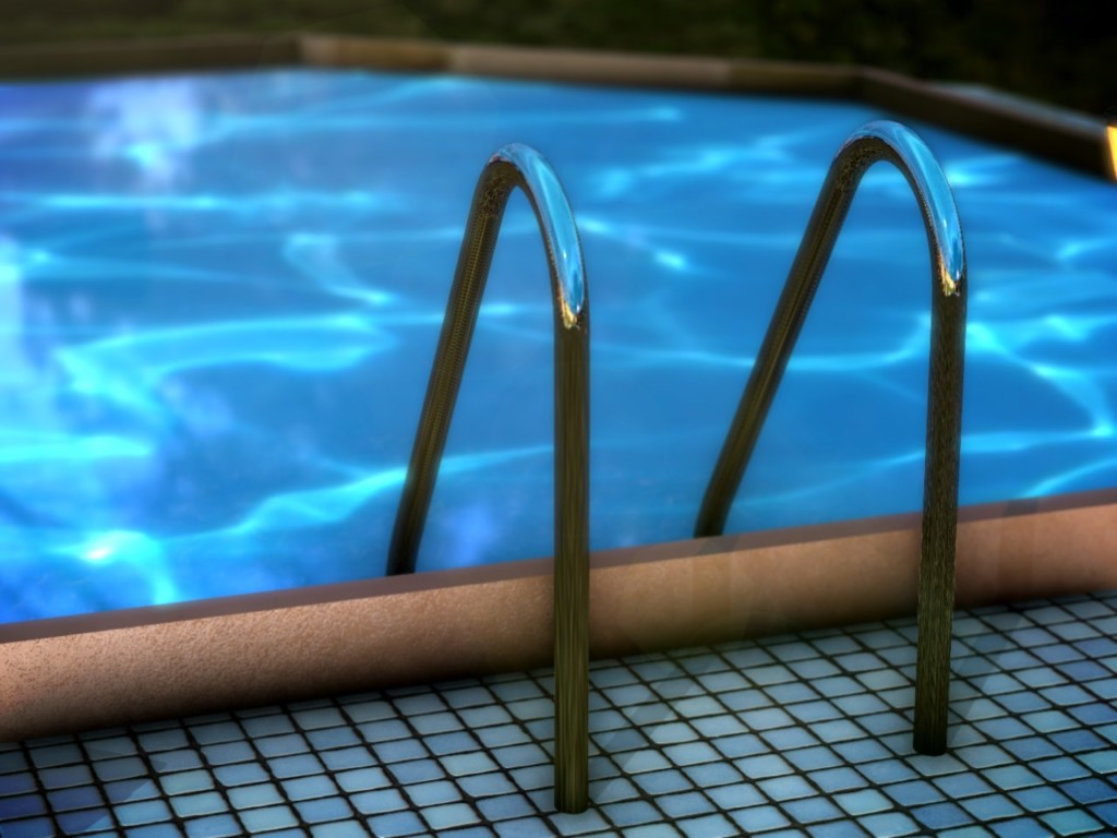 Hand rails and steps at a pool