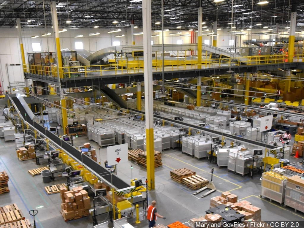 photo of boxes in Amazon shipping warehouse
