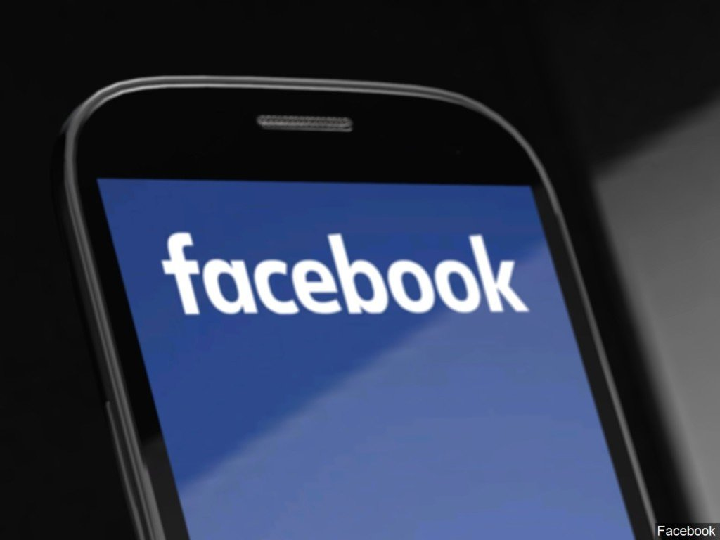 Picture of Facebook logo on smart phone