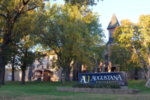 Augustana University with sign in front of campus