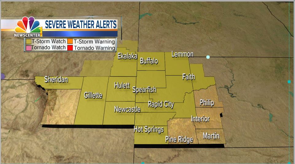Severe thunderstorm conditions over Black Hills, parts of Wyoming