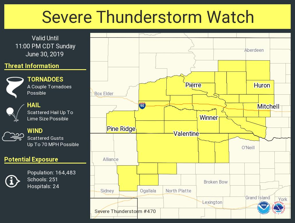 Severe thunderstorm warning over central South Dakota with tornadoes