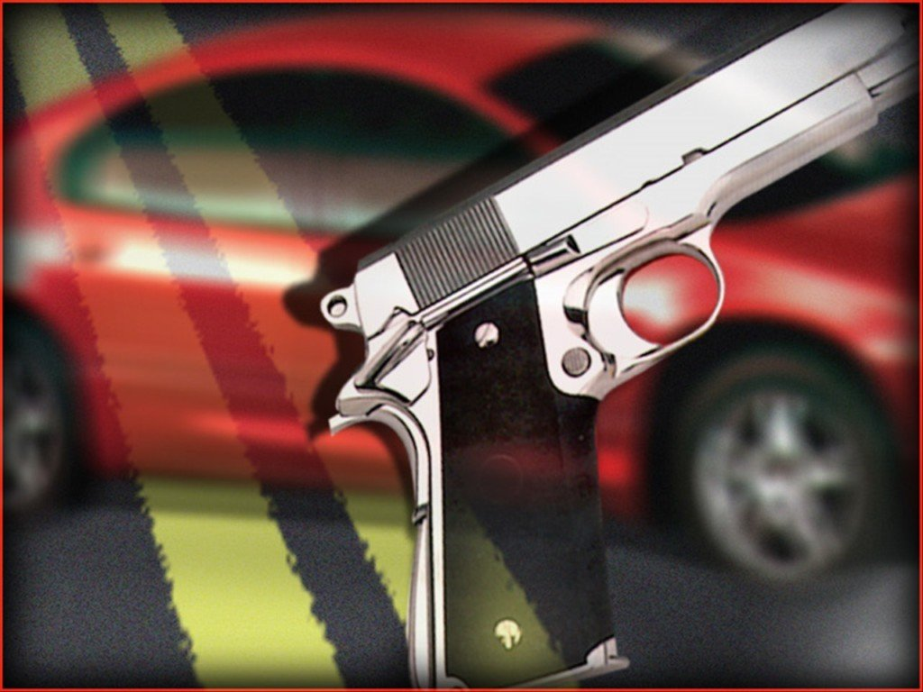 graphic with car and gun illustration