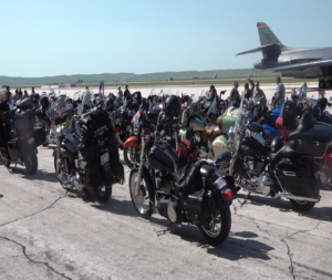 150 active duty and veteran riders gathered on the flight line at Ellsworth AFB on Tuesday for the 19th annual Dakota Thunder Run.