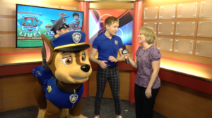 Chase and Paw Patrol spokesperson, Michael with Anya Mueller