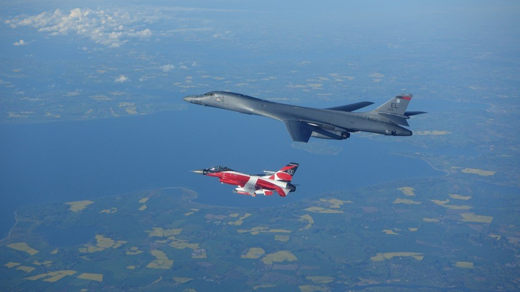 B 1 Conducts Training With Danish F 16 During Btf Europe