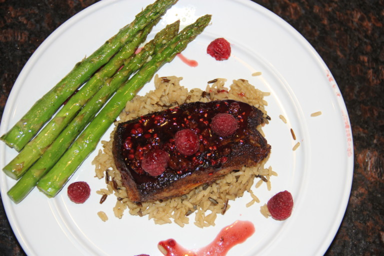 Blackened Fish Fillet with Bacon Raspberry Glaze - Outdoornews