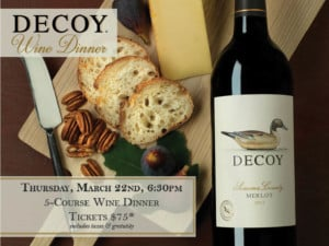 Decoy Wine Dinner at Chapel Grille! @ Chapel Grille   Cranston   Rhode Island   United States