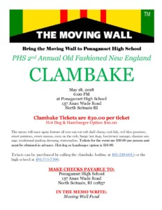 Clambake to Support the Vietnam Memorial Moving Wall @ Ponaganset High School