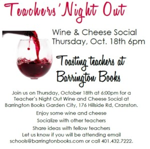 Teacher's Night Out: Wine and Cheese Social @ Barrington Books Garden City | Cranston | Rhode Island | United States