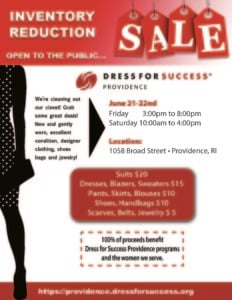 Blow-Out Inventory Clearance Sale! @ Dress for Success Providence | Providence | Rhode Island | United States